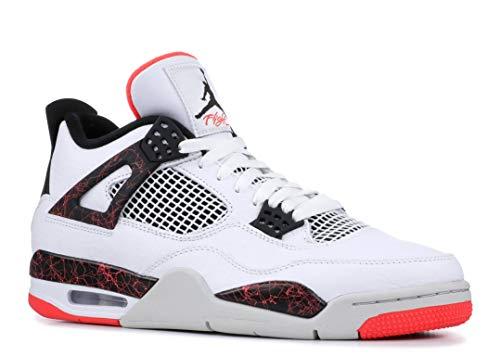 Jordan Herren 4 Retro Fitnessschuhe, Mehrfarbig (White/Black/Bright Crimson/Pale Citron 000), 47.5 EU - Retro Jordan Herren-schuhe