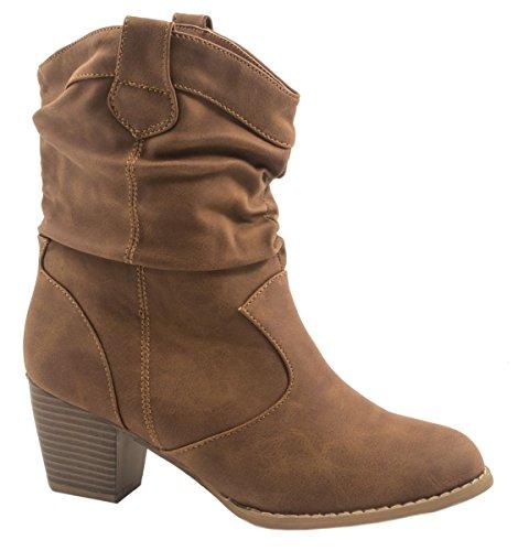 Elara Damen Ankle Boots | Modische Cowboy Boots | Lederoptik Stiefeletten Größe 39, Farbe Camel