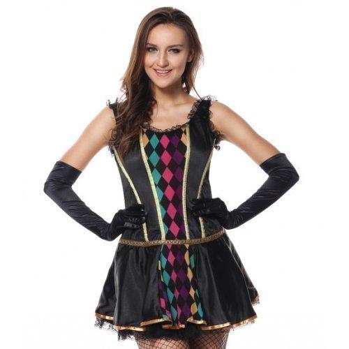 Fancy Me 3-TLG. Damen Sexy Schwarz Harlekin Mardi Gras Maskerade Korsett Kostüm Kleid Outfit - Schwarz, Schwarz, 8-10