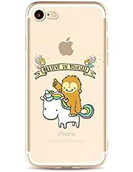 MUTOUREN iPhone 7 Plus (5.5 Zoll) Hülle Schutzhülle Handy TPU Silikon Hülle Ultra dünne Case Cover Durchsichtig Gel Tasche Bumper Schale - Einhorn und Affe - Motif 10