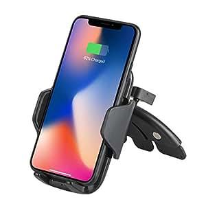 EEEKit Qi Caricabatteria da Auto per Auto CD, Supporto per Telefono, Caricatore rapido per Samsung Galaxy S9 / S9 Plus / S8, Nota 8, Carica Standard per iPhone X, 8/8 Plus e dispositivi abilitati Qi