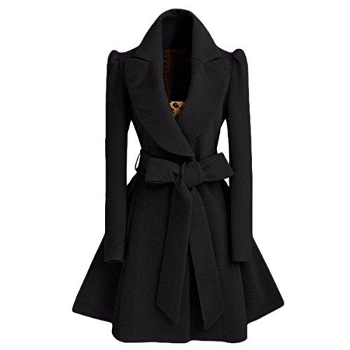 LANMWORN Femme Hoodie Vestes Longue Aile Sweat à Capuche Trench Coat avec Ceinture, Hiver Chaleureux Manteau Silm Revers ÉPaissir Blouson Solid Coat Pardessus.