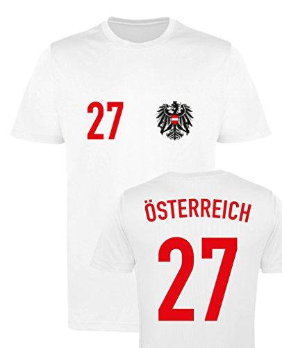 WM EM Trikot - ÖSTERREICH 27 - Mädchen T-Shirt - Weiss/Rot-Schwarz Gr. 122-128