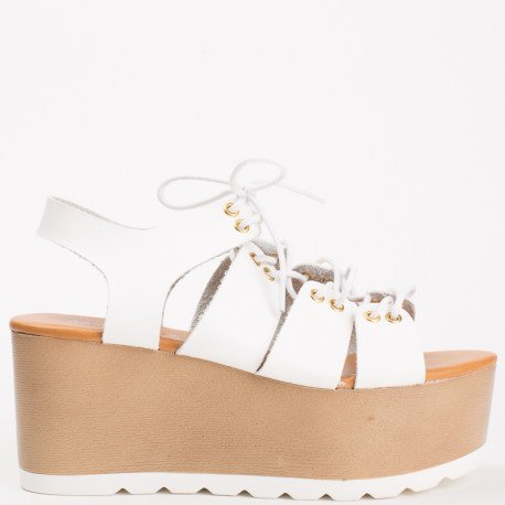 Ideal Shoes - Sandales à plateforme style spartiate Medea Blanc