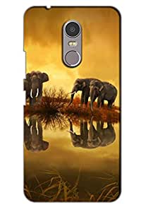 AMAN Elephant sunset 3D Back Cover for Lenovo K6 Note