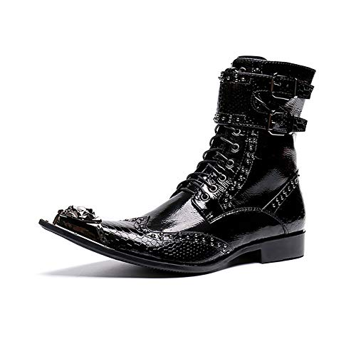 Herren Leder Stiefel wies Metall Zehe schwarz Krokodil Schlangenleder Mode glänzend Kleid Schuhe Punk Martin personalisierte Western Cowboy Rock Sänger Hochzeit für Hochzeit, lässig, Büro, ()