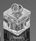 Scatola Scatolina vetro portaconfetti con fedi nuziali in argento lamina