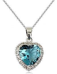 Corazón Collar con colgante con Azul Aguamarina simulada Cristales austríacos de Zirconia 18k Chapado en oro para mujer 45 cm