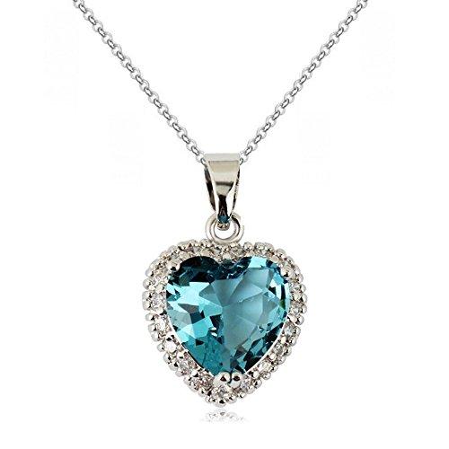 Placcato in oro 18ct in zirconi cristalli austriaci blu oceano ciondolo a cuore bella collana