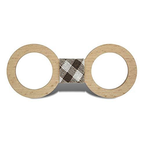 TIUTIU Hochzeitsfliege Aus Massivem Holz - Armband, Verstellbarer Gummizug - Lässige Fliege Aus Holz - Personalisierte Kreative Fliege - Größe 12 * 5 Cm (4) - Zwölf Tote Baumwolle