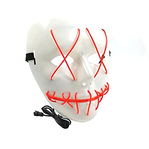 Tinksky Fantaisie EL Wire Halloween Cosplay Led Mask Light Up Mask pour fêtes de fête Costumes d'Halloween (Rouge)