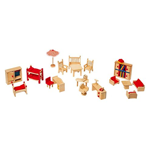 Puppenhausmöbel mit Garten aus Holz, 22-teiliges Set mit Wohn-, Schlaf- und Arbeitszimmer sowie Gartenmöbeln, mit viel Liebe zum Detail gestaltet, geeignet für Biegepuppen und ähnliche Puppen
