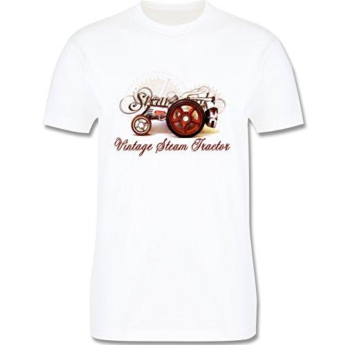 Landwirt - Vintage Steam Tractor Traktor - Herren Premium T-Shirt Weiß