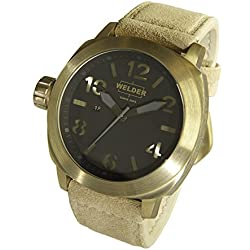 Welder Men's Quartz Watch with Black Dial Analogue Display and Beige Leather Strap K51-9100