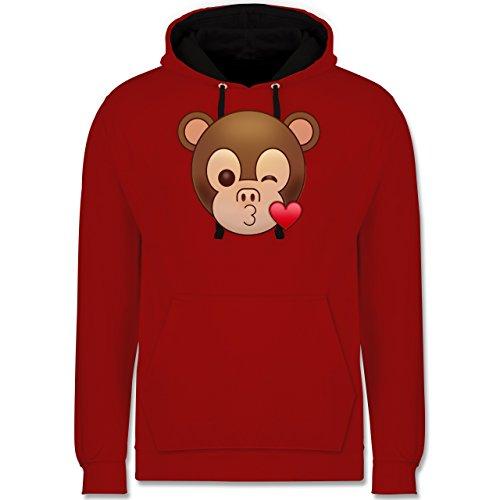 Comic Shirts - Küsschen Äffchen Emoji - Kontrast Hoodie Rot/Schwarz