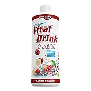 Best Body Nutrition - Low Carb Vital Drink, 1:80, Banane Kirsch, 1000 ml Flasche