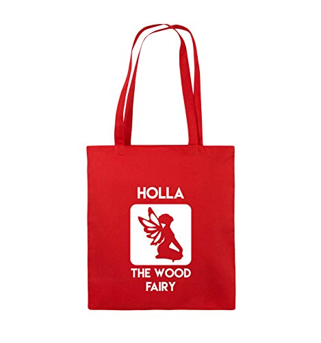 Comedy Bags - HOLLA THE WOOD FAIRY - Jutebeutel - lange Henkel - 38x42cm - Farbe: Schwarz / Pink Rot / Weiss