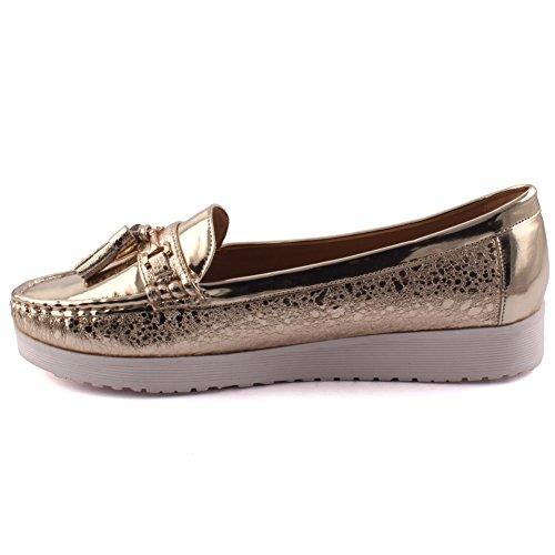Unze Neue Frauen 'Ellen' Casual Quaste Akzentuierte Bequem Karneval Slip On Mokassin Patent Vamp Get Together Office Flat Müßiggänger Schuhe Größe 3-8 - JMY89-D4 Gold