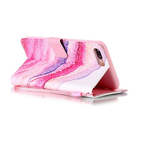 mo-beauty ® - Custodia a portafoglio in ecopelle per iPhone 7, include uno schermo protettivo in vetro temperato, Ecopelle, Skull, iPhone 5/5S/SE Pink,sand