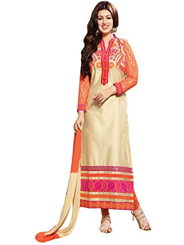 Pramukh Enterprise Beige Long Pakistani Styles Designer Cotton Salwar Kameez  available at amazon for Rs.999