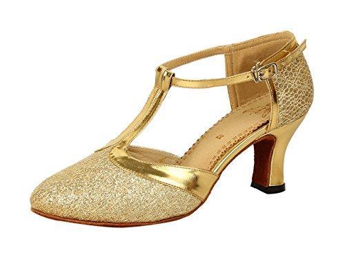Honeystore Damen's Geschlossene Zehe T-Riemen Glitter Tanzschuhe Gold 4 UK
