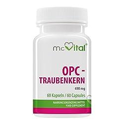 OPC - Traubenkern - 490 mg - mit Vitamin B2 - hochdosiertes Antioxidationsmittel für Ihre Blutgefäße - 60 Kapseln