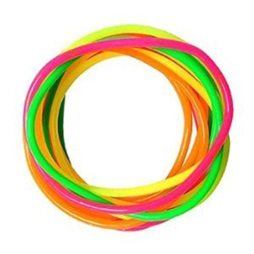 Gummy Bangles Neon 12 Bands s Jelly Wristbands Bracelets 80's Fancy Dress Girls by Fashion Accessory
