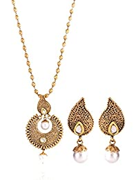 Shining Diva Gold Plated Traditional Jewellery Fancy Party Wear Kundan Pearl Necklace Set / Pendant Set With Earrings...