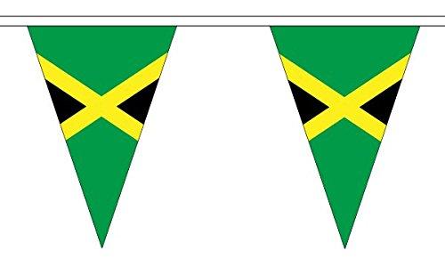 5 metres 12 (30,5 x 20,3 cm) Jamaïque jamaïcain Caraïbes Triangle triangulaire fanions Drapeau 100% polyester Matériau Décoration de fête Idéal pour Street House Pubs clubs école WelshSuperstore