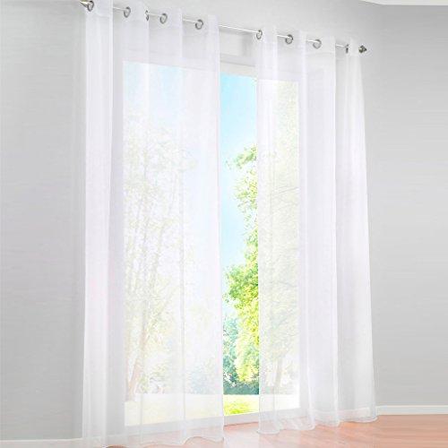 Voile Vorhang Ösen Gardinen Schal UNI Transparent Ösenvorhang 1er-Pack BxH 140x225cm Weiß