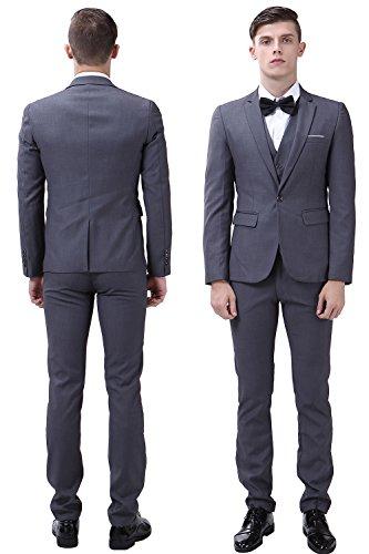 Herren Anzug Jacke Sakko Slim Fit Blazer Business Freizeit Smoking Einfarbig von Harrms, 10 Farben, Grösse 44-54 Dunkelgrau