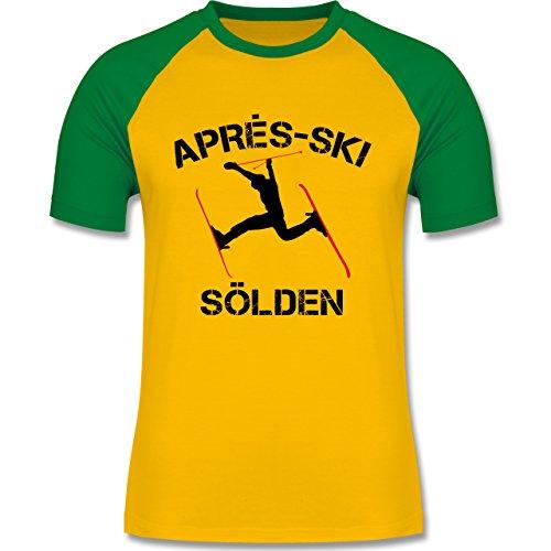 Après Ski - Apres Ski Sölden - zweifarbiges Baseballshirt für Männer Gelb/Grün