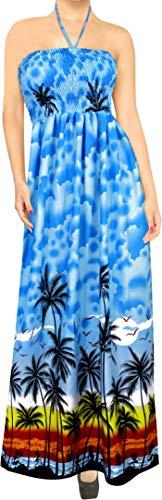 LA LEELA Likre hawaiianischen Aloha 3 in 1 beiläufigen Langen Cocktailkleid Abend langes Kleid Neck Brautjungfer Sundress Maxi-Rock Bademode verschleiern loungewaer Bandeau ärmelloses Kleid blau (Capri-baumwoll-leibchen)