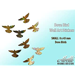 Glitter Gold DOVE BIRDS, Colour Changing Glitter Wall Stickers (Small 8 x 45 mm), Abelli Home Decor