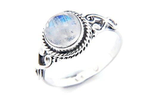 Ring Weiß Stein (Ring Silber 925 Sterlingsilber Regenbogen Mondstein weiß Stein (MRI 24), Ringgröße:52 mm / Ø 16.6 mm)