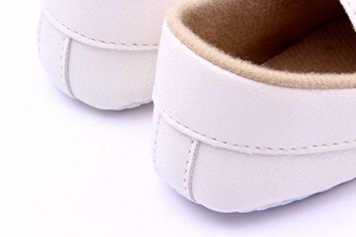 xhorizon TM MLK Chaussures de bébé unisexes en cuir souple Toddler pour enfant garçons filles Blanc(9-12M/12.5cm) Blanc