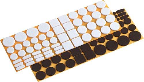 Metafranc Filz-Gleiter-Sortiment 110-teilig-selbstklebend-weiß Effektiver Schutz Ihrer Möbel & Stühle/Möbelgleiter-Set für empfindliche Böden/Stuhlgleiter/Bodengleiter / 645306, braun - 16 Filz-pads 7