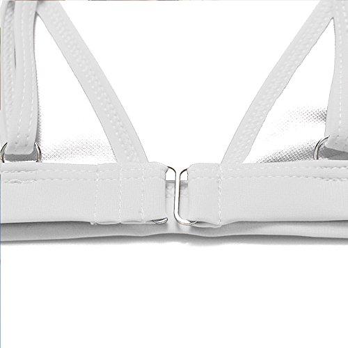 Damen Badeanzüge Einfarbig Baden Bademode One piece rückenfrei Bikini Set Pin Up Swimsuit 2 Piece S M L XL ---CROSS1946 Weiß