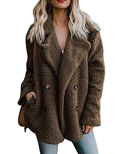 Cayuan donna cappotti giacca en pelliccia sintetica addensare caldo cappotto soffice soprabito cardigan con tasche inverno marrone