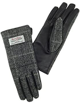 Da donna, 100% Harris Tweed e guanti in pelle grigio a quadri LB3000