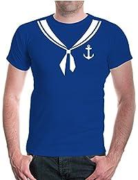 buXsbaum® Herren T-Shirt Unisex Kurzarm T-Shirt bedruckt Matrose-Dress | Kostüm Karneval Fasching