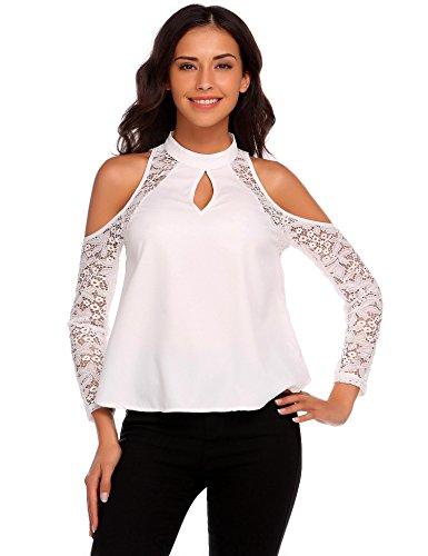 Chigant Damen Floraler Spitze Langarmshirt Bluse mit Tops Shirt T-Shirt Weiß S