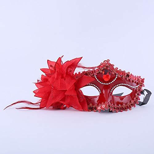 Erwachsene Plus Schönheit Für Kostüm - CZDXM Halloween Ball Side Half Face Weiß Kinder Männer und Frauen Maske Seite Blume Pailletten Große Lotus Maske (Rot) 18x10cm
