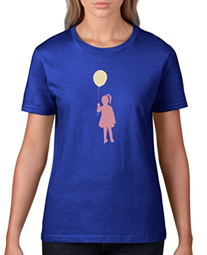 Comedy Shirts - Ballon Mädchen - Damen T-Shirt - Royalblau/Rosa-Beige Gr. L