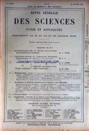 REVUE GENERALE DES SICENCES [No 4] du 28/02/1893 - LES EXPERIENCES DE H. MOISSAN SUR LA PRODCUTION ARTIFICIELLE DU DIAMANT - A. ETARD - LES RECENTS TRAVAUX DE L'ASSOCIATION GEODESIQUE INTERNATIONALE - 1ERE GRANDE INDUSTRIE CHIMIQUE - G. LUNGE - CHIMIE APPLIQUEE - PH. GUYE. par Collectif