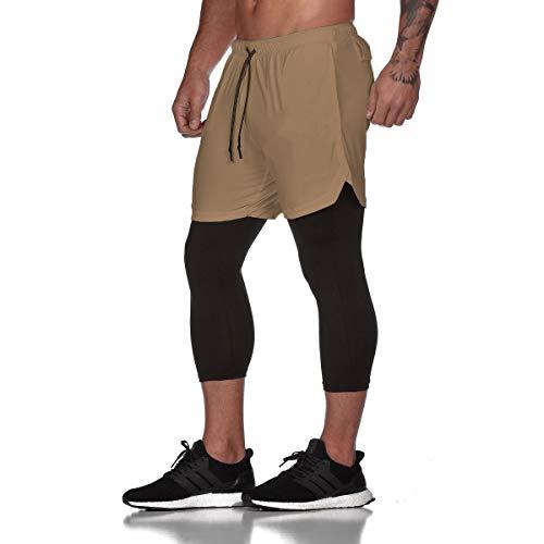 Herren Sport Kurz Hose,Morbuy 2 in 1 Laufshorts Fitness Kurzehose Jogging Training Loose Sporthose Männer Shorts Trainingshose für Outdoor Sport Workout (M,Khaki)