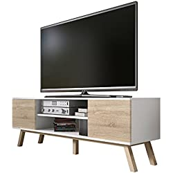 Vero Bois - Meuble tv Moderne (150 cm, Corpus Blanc Mat / Front Sonoma Clair)