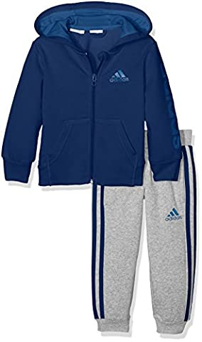 adidas Kinder Hojo Trainingsanzug, Top:Mystery Blue Bottom:Medium Grey Heather,