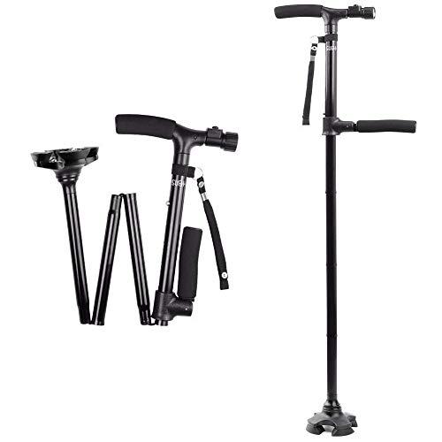 Sueh design canna da passeggio pieghevole con luce a led, bastone da passeggio regolabile leggero pieghevole, nero
