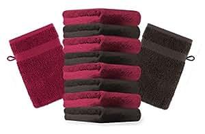 10er Pack Waschhandschuhe Waschlappen Premium Farbe Dunkel Rot & Dunkel Braun Größe 16x21 cm Kordelaufhänger 100% Baumwolle
